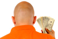 Bald and Money. Bald guy with the US Dollars Stock Images
