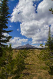 Bald Mountain in Big Sky. Scenic view of cloudscape over Bald Mountain in Blue Sky, Montana, U.S.A Stock Images