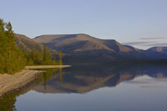 Bald mountain lake, Kola Peninsula, Murmansk region, Russia Royalty Free Stock Photo