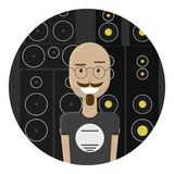 Bald mustache man in round glasses and in a t-shirt. He is smiling. Audio speakers on a background. Skeptical facial expression. He is clearly an expert in his stock illustration