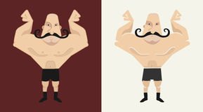 2 bald, mustached athlete's in 2 different styles. 2 huge, bald, mustached athlete's in 2 different styles illustration isolated on white vector illustration