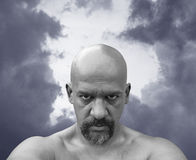 Bald naked man. With sinister look in his eyes Stock Photos