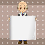 A bald oldman holding an empty signage Royalty Free Stock Image