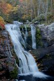 Bald River Falls in October, Tellico Plains, TN USA. Bald River Falls in peak autumn color during October. This popular-with-tourists waterfall is found outside Royalty Free Stock Photo
