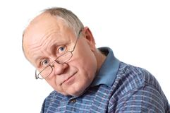 Bald senior man with glasses. Emotional portraits series. Isolated on white Royalty Free Stock Photography