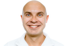 Bald smiling man. Isolated. Studio Royalty Free Stock Photo