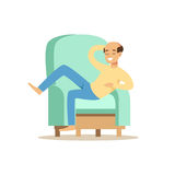Bald smiling man sitting on a ligh blue sofa and resting vector Illustration Stock Photos