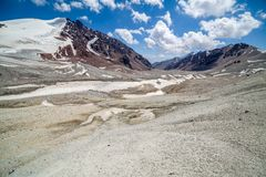 Bald stony mountains of Tien Shan Royalty Free Stock Photos