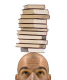 Bald student learning trouble Stock Image