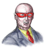 Bald superhero wearing mask Royalty Free Stock Images