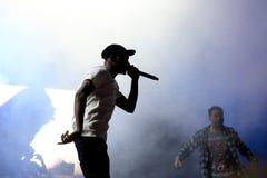 SO BALD WIE MÖGLICH felsig (Rapper von Harlem und Mitglied des Hip-Hop-Kollektiv SO BALD WIE MÖGLICH Pöbels) im Konzert am Sonar- Lizenzfreies Stockbild