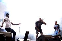 SO BALD WIE MÖGLICH felsiger Rapper von Harlem und Mitglied des Hip-Hop-Kollektivs greifen SO BALD WIE MÖGLICH im Konzert am Sona Lizenzfreies Stockbild