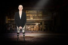 Bald Woman, Amputee, Legs, Surreal royalty free stock image