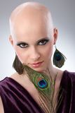 Bald woman with peacock plume. Portrait of beautiful hairless woman using peacock plumes as accessory Stock Images