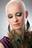 Bald woman with peacock plumes. Portrait of beautiful hairless woman using peacock plumes as accessory Royalty Free Stock Images