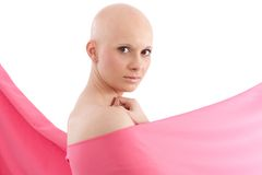 Bald woman in pink - Breast Cancer Awereness Royalty Free Stock Photos