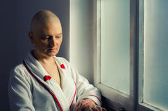 Bald woman suffering from cancer Royalty Free Stock Image