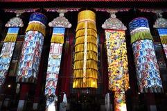 Baldacchino dell'interno del monastero di Drepung Immagini Stock