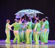 Baldacchino-gelsomino nella danza popolare di pittura-cinese del lavaggio e dell'inchiostro Immagine Stock Libera da Diritti