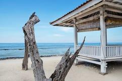 Baldachim od słońca na plażowym Bali Fotografia Royalty Free