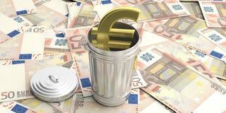 Balde do lixo de aço no euro- fundo das cédulas ilustração 3D Imagem de Stock