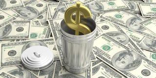 Balde do lixo de aço no fundo americano dos dólares ilustração 3D Imagens de Stock