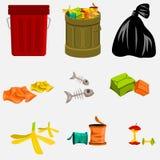 Balde do lixo e lixo Imagens de Stock Royalty Free