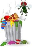 Balde do lixo e mosca dos desenhos animados ilustração royalty free