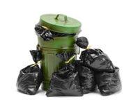 Balde do lixo e sacos foto de stock royalty free