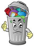 Balde do lixo irritado dos desenhos animados Foto de Stock Royalty Free