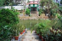 Baldha庭院是其中一个最旧的植物园在孟加拉国 庭院丰富与罕见的植物种类收集从 库存图片