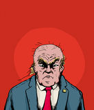 Balding Donald Trump with frown. April 18, 2017. Balding Donald Trump moping over red background Stock Photo