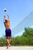 Balding man sets ball Stock Image