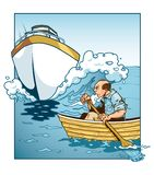 Man in Rowboat Colliding with Yacht royalty free illustration