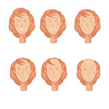 Balding Woman Heads Set. Hair loss storyboard composition of six isolated full faces of balding woman character at various points vector illustration Royalty Free Stock Photo