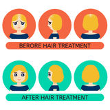 Balding woman before and after treatment Royalty Free Stock Image