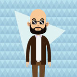Balding young man beard sunglasses abstract background Stock Image
