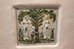 Baldosa cerámica de Adán y de Eva foto de archivo libre de regalías
