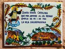 Baldosa cerámica del santo Catherine de Palma en la pared de la casa Foto de archivo