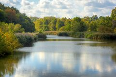 Baldwin Lake in Autumn. Baldwin Lake in Cuyahoga County, Ohio. Located in Mill Stream Run Reservation near Berea Ohio. The site of a former sandstone quarry royalty free stock photo