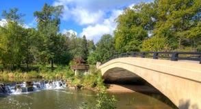 Baldwin Lake Dam. The waterfall and bridge at Baldwin Lake Dam in Cuyahoga County, Ohio. Located in Mill Stream Run Reservation near Berea Ohio. The site of a stock image