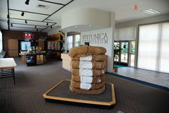 Bale of cotton in the lobby at the Tunica Museum in North Mississippi. Stock Photo