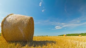 Bale of hay in the field, time-lapse with crane stock video