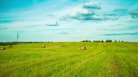 Bale of hay in the field, time-lapse stock footage