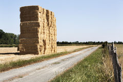 Bale of haystack and a dirt road. In the countryside of France royalty free stock photos