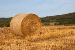 Bale of straw. A bale of straw on a sunny day before blue sky Royalty Free Stock Images
