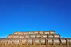 Bale of straw in foil on field Stock Image