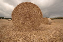 Bale of straw. Massive bale of straw sky Royalty Free Stock Image