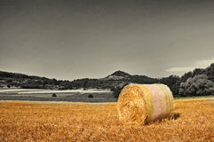 Bale of straw with a panoramic view to a hill Stock Photo