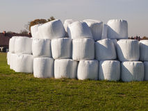 Bale of straw in a plastic bag Stock Photo
